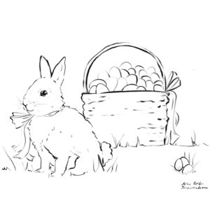 Colouring Book Page for Easter Bunny and Basket